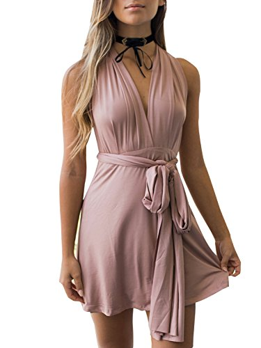 Clothink Women Convertible Wrap Multiway Bandage Mini Dress Party Pink S