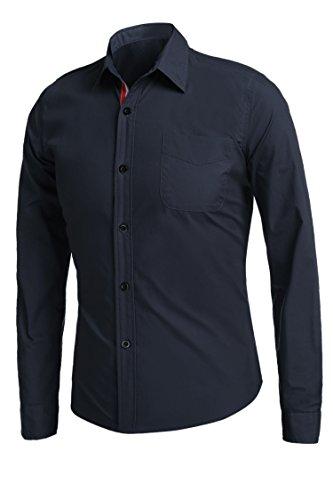 Detailorpin Men's Business Dress Shirt Slim Fit Contrast Button Down Long Sleeve Shirt by Detailorpin (Image #2)