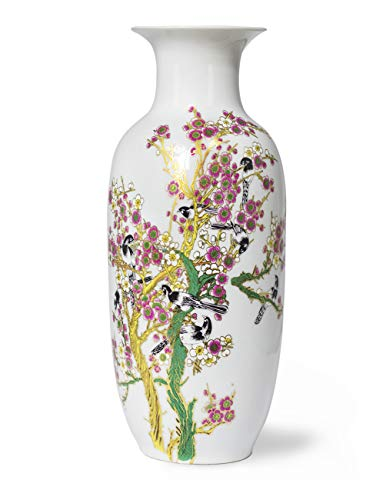 Dahlia Bird on Peach Blossom Famille Rose Porcelain Tall Flower Vase, 15 Inches, Rouleau ()
