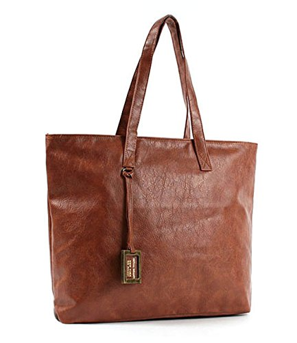 Nidl Women's Laptop Top Handle Hand bag Tote Puse Shoulder Bag (Tan) (Rolled Tan Leather)