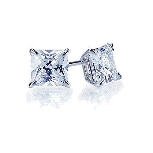 14K White Gold 5mm Square Princess Cut Cubic Zirconia Basket Set Solitaire Screwback Stud Earrings (Princess Accent Cut)