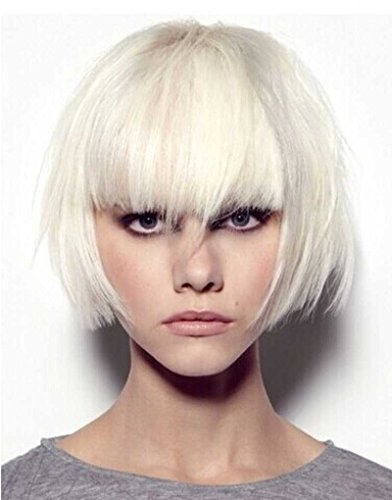 Tsnomore Trendy Dapper Short Bob Wig Straight With Women Kanekalon Bob Wig with Full Bang Cosplay Women Wig (White)