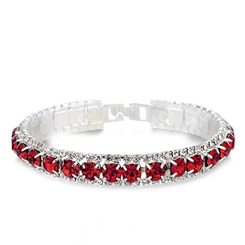 (CAIYCAI 925 Sterling Silver Bracelets Full AAA Zircon Austrian Crystal Femme Women Link Chain Jewelry Bangles,Red)