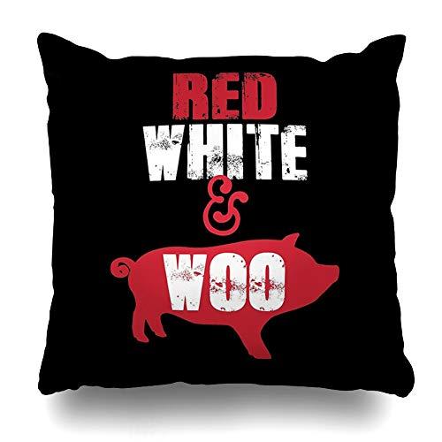 Ahawoso Throw Pillow Cover Square 18x18 Inches Arkansas Razorbacks Red White Woo Decorative Pillow Case Home Decor ()
