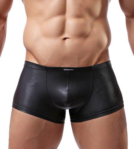 Sexy Imitation Leather Men's Underwear Tight Boxer Briefs Swim Shorts C33 (L, Black)