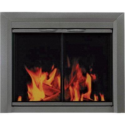 Pleasant Hearth CR-3401 Craton Fireplace Glass Door, Gunmetal, Medium