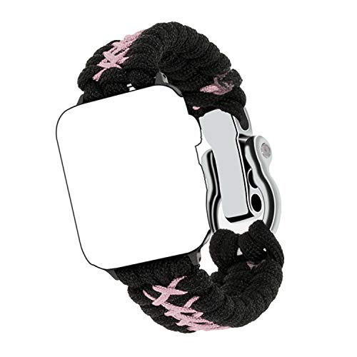 Qianyou Kompatibel mit Apple Watch Paracord Armband, Survival Nylon Loop Einstellbar Weben Ersatzarmband mit Metall…