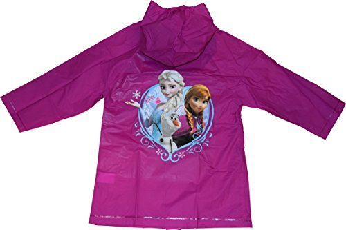 Frozen Disney Anna, Elsa and Olaf Girl's Raincoat (Large 5-6)