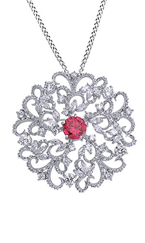 AFFY Simulated Ruby & CZ Flower Swirl Brooch Pin Medallion Vintage Pendant Necklace in White Gold Over Brass