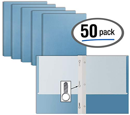 Light Blue Paper 2 Pocket Folders with Prongs, 50 Pack, by Better Office Products, Matte Texture, Letter Size Paper Folders, 50 Pack, with 3 Metal Prong Fastener Clips, Light Blue ()