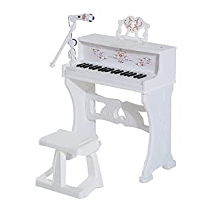 Share a love of music and foster learning at an early age with the Qaba Kids 37 Key Lovely Princess Electronic Piano Keyboard with Stool and Microphone.. Fun features include MP3, USB and Karaoke functions plus 22 built-in songs with Record and Playb...