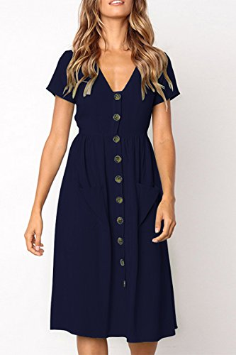V Pocket Dress Short Neck Down Midi Black Flared ioiom Button Women Sleeve Front with 76qfKwZ5