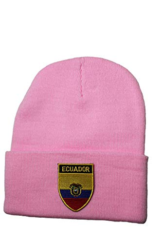 Ecuador Country Flag Patched Toque HAT .Colors Available : Black, Red, Blue, Pink (Pink)