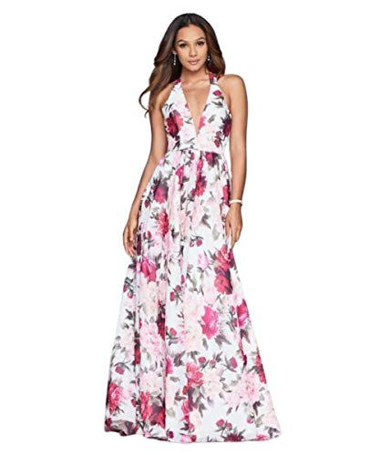Faviana - Floral Halter A-Line Evening Gown S10278