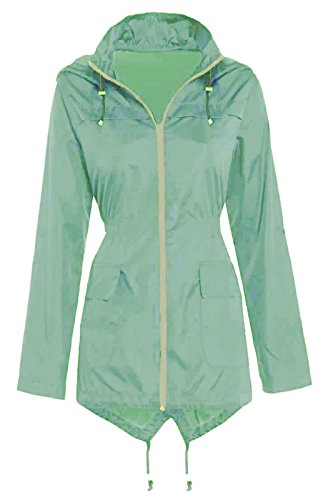 Ladies Rain Mac Fishtail Festival Womens Raincoat Parka Plain Showerproof Jacket 8 10 12 14 16 18 20 22 24 Mint