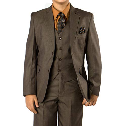 Boys Suit Textured Solid Three Piece Modern Fit Notch Lapel Suits with Shirt & Tie Olive