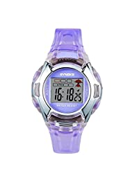 Multifunction Kids Sports Watches 3ATM Water Resistance Backlight Digital Student Wristwatches Purple