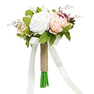 Pauwer Wedding Bridal Bouquet Artificial Peony and Rose Silk Flower Wedding Bouquets for Bride Bridesmaids (D532)