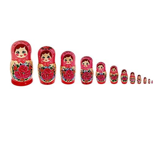 12'' Premium Set of 12 Semenov Wooden Russian Nesting Dolls Matryoshka Stacking Nested Wood Dolls by Semenovskaya rospis