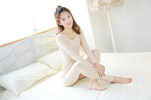 GBHNJ Thermal Underwear Sets Women'S Slim Autumn And Winter Beige F(Suitable Weight 80-130 Catty) by GBHNJ Thermal Underwear