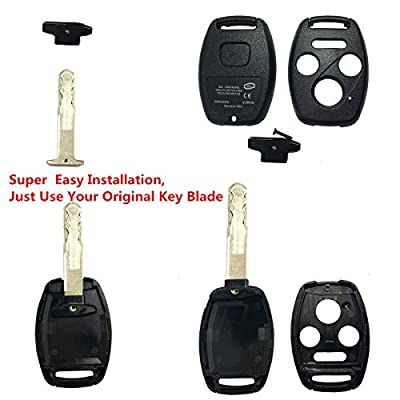 Replacement Keyless Entry Key Fob Case Fit For Honda 2003-2007 Accord 2005-2006 CR-V Ridgeline Civic Remote Control Key Combo 4 Buttons Replacement Car Key Shell Casing Blank Without Blade: Automotive