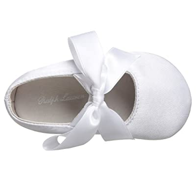 Ralph Lauren Layette Briley Ballet Crib Shoe (Infant/Toddler),White Satin,4 M US Toddler