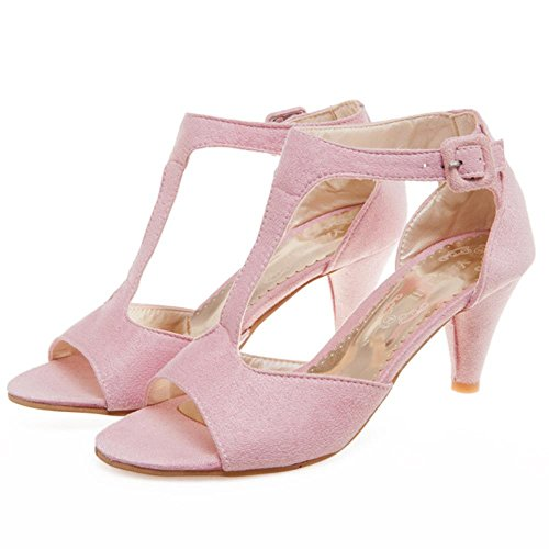 COOLCEPT Mujer Moda Correa En T Mini Tacon Sandalias Stylish Punta Abierta Zapatos rosa