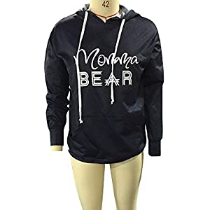 Coutgo Mama Beer Letter Print Pullover Hoodies Splicing Color Sweatshirt With Pockets (M, Black-1)