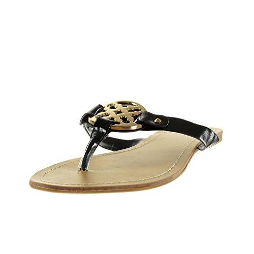 Angkorly - Zapatillas de Moda Sandalias mujer Hebilla dorado Talón Tacón ancho 1 CM - Negro