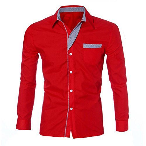 YANG-YI Fashion Mens Boy Luxury Long Sleeve Casual Slim Fit Stylish Shirts (M, Red)