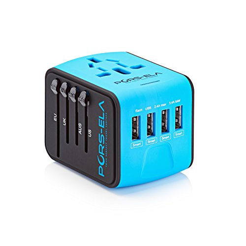 International Travel Power Adapter with 4 USB 3.4A Charger & Worldwide AC Wall Outlet Plugs for UK, US, AU, Europe & Asia - Safety Fused, Gift Pouch - Blue (Adapter Universal Plug)