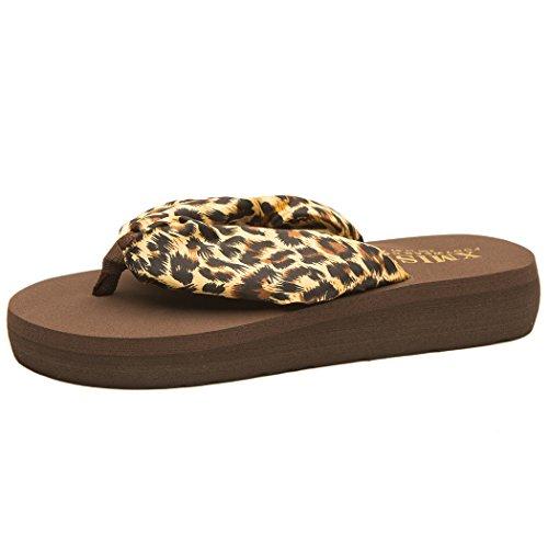 WODEBUY Women's Satin Cute and Comfortable Brown Summer Flip-Flop (6 B(M) US, ()