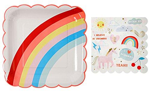 Meri Meri Rainbows and Unicorns Large Plates and Napkins -- Includes 12 Plates and 16 Napkins ()
