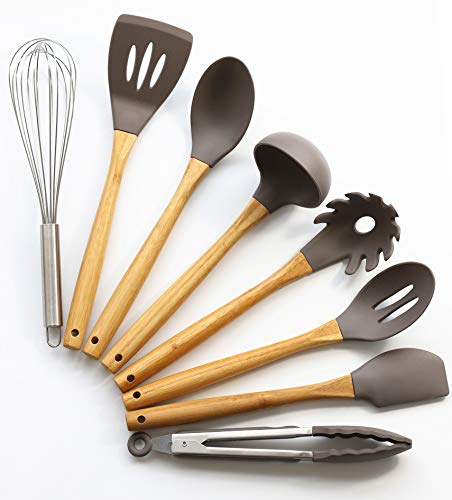 Kitchen Utensil Set - 8 Pieces Bamboo Cooking Utensils - Silicone Kitchen Gadgets for Non-stick Cookwares - Serving Tongs, Spoon, Spatula Tools, Pasta Server,Soup Ladle, Egg Whisk