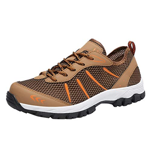 NUWFOR Fashion Men's Breathable Non-Slip Outdoor Walking Shoes Sports Hiking Shoes(Brown,12 M US Length:11.4