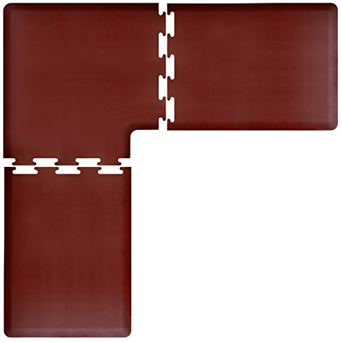 WellnessMats PuzzlePiece Collection L Series Burgundy Anti-Fatigue Mat, 7 x 7 Foot by WellnessMats