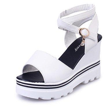 LvYuan Mujer-Tacón Cuña-Confort-Sandalias-Oficina y Trabajo Vestido Fiesta y Noche-Ante-Negro Blanco Bermellón Burgundy