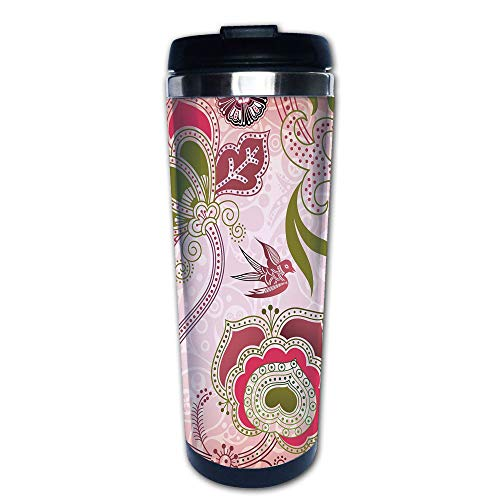Stainless Steel Insulated Coffee Travel Mug,Scroll Swirl Leaf Lines Boho Artwork,Olive Green,Spill Proof Flip Lid Insulated Coffee cup Keeps Hot or Cold 13.6oz(400 ml) Customizable printing