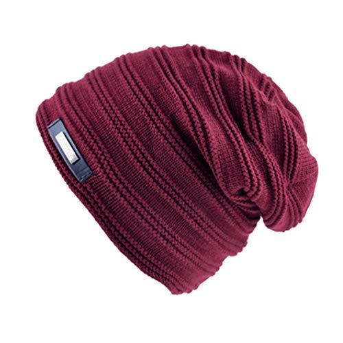 Beanies Hombres de de Color Invierno Sombreros Mujeres Gorra de Rojo sólido Punto Terciopelo Qianliuk Beanie Los más 4wq56xnxpP