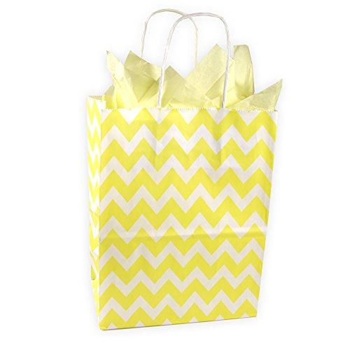 Paper Gift Bag Pattern (Lemon Yellow and White Chevron Pattern Kraft Gift Bag (Set of 8))