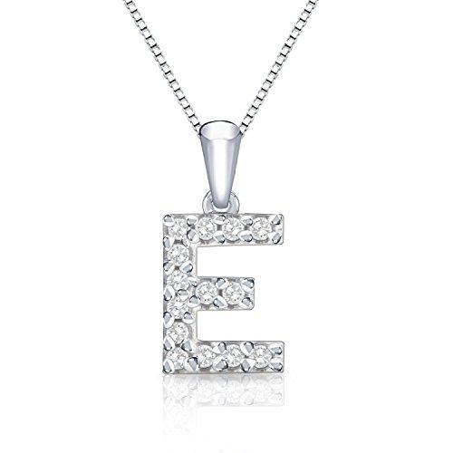 Diamond Wish 14k White Gold Initial E Diamond Pendant Necklace (1/10 cttw) with 18