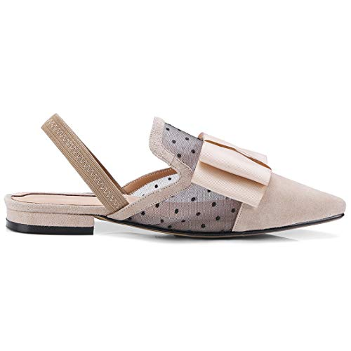 Slides Flats Mesh Leather Loafers Eithy Mule On for Women Shoes Casual Apricot Backless Slip 41YnTqw