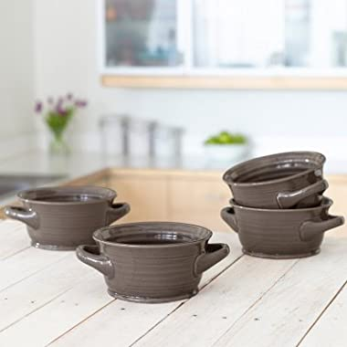4-Pack Glazed Tuscan Soup/Chili Bowl Set Stone Gray