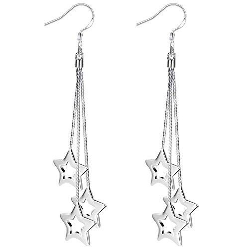 BOHG Jewelry Womens 925 Sterling Silver Plated Three Long Wire Chain Open Star Drop Dangle Hook - Hook Chain Earrings