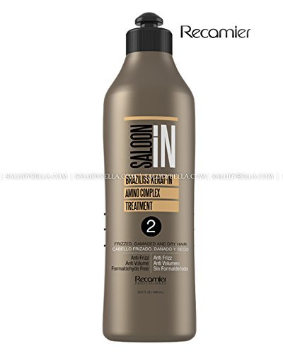 Braziliss Permanent Hair Straightener Natural Process Blowout No Formol No Frizz | Alisadora Keratin 33.3oz(1000ml) by SALOON IN