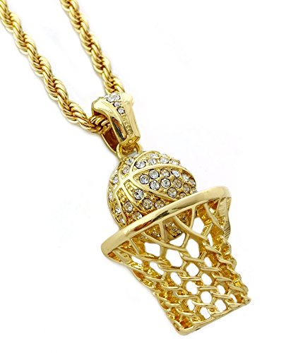 Basketball Hoop Pendant Necklace with 24