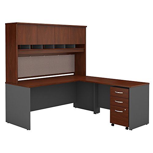 Bush Business Furniture SRC0018HCSU Series C 72W L Shaped Desk with Hutch and Mobile File Cabinet, Hansen Cherry - Furniture Hutch