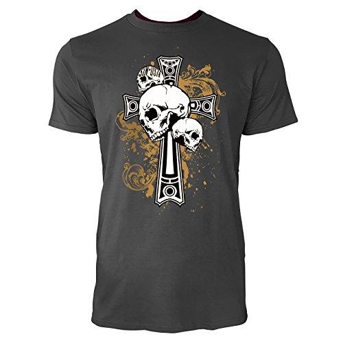 SINUS ART ® Totenköpfe vor Gothic Kreuz Herren T-Shirts in Smoke Fun Shirt mit tollen Aufdruck
