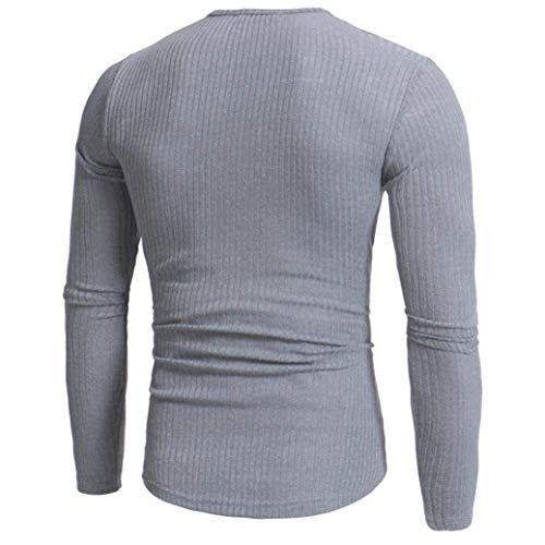 Collo Maglioncino Uomo Slim Fit Autunno Casual Pullover Lungo Camicetta Top Inverno Scollo Gray V Skinny A SHYaqYAr