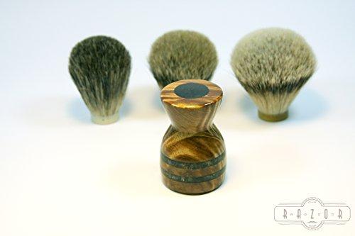 Birdseye Maple Burl Shaving Brush w/Black Obsidian Inlay